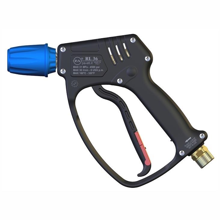 """Пистолет RL36 с быстроразъемным соединением ARS25, до 310бар 30л/мин 160°C, Вх.М22х1,5(Ш) на вертлюге, Вых.ARS25 B (""""A"""" Kw)"""