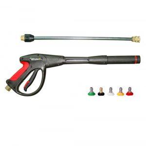 Комплект для очистки поверхности: пистолет в.д. с копьем, 4 быстросъемные форсунки 040 для поверхностей (0°,15°, 25°, 40°), форсунка для инжекции химического состава, до 275бар, Вх.М22х1,5(Ш)