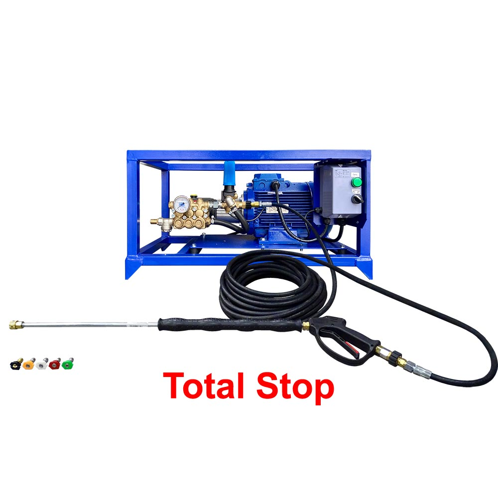 "Аппарат ПОСЕЙДОН E5-200-15М2-IP-TSS-RF-Gun на раме-стойке, 5,5 кВт, 200 бар, 14,5 л/мин, привод через муфту, система ""Тотал-Стоп"", комплект для очистки поверхностей."