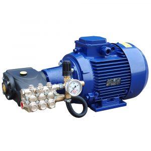 Аппарат ПОСЕЙДОН E7-200-20M2-UD-HOT (7,5 кВт, работающий с горячей водой до 70⁰С, 200бар при 20 л/мин, привод через муфту, регулятор давления, манометр, замкнутый байпас)